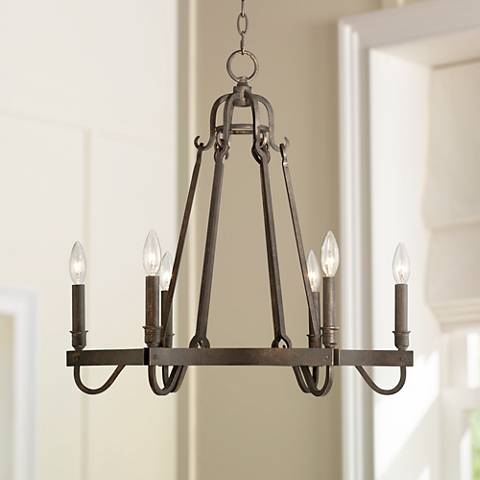 "Raymore 23 1/2"" Wide Rustic Bronze 6-Light Chandelier"