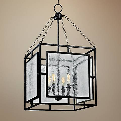 "Feiss Prairielands 16"" Wide Dark Zinc 4-Light Pendant"