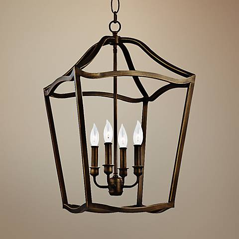 "Feiss Yarmouth 14 3/4""W 5-Light Aged Brass Foyer Pendant"