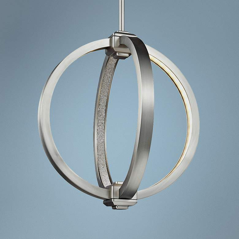 "Feiss Klohe 12"" Wide Satin Nickel LED Orb"