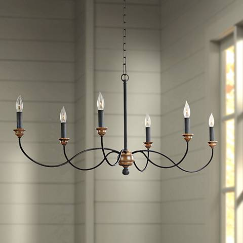 "Feiss Hartsville 42 1/2"" Wide Dark Zinc 6-Light Chandelier"