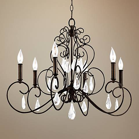 "Feiss Angelette 29"" Wide Bronze Steel 6-Light Chandelier"