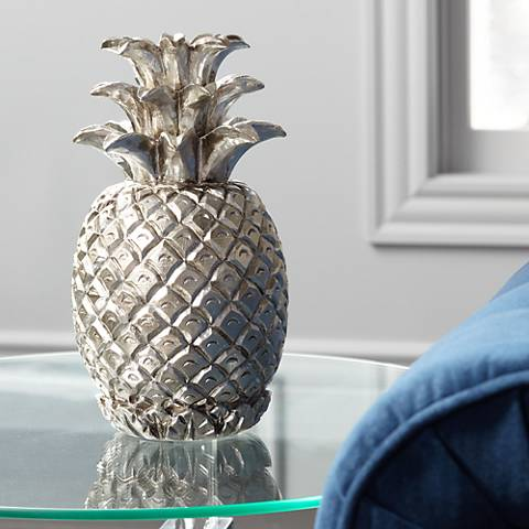 "Silver Pineapple 11 3/4"" High Figurine"
