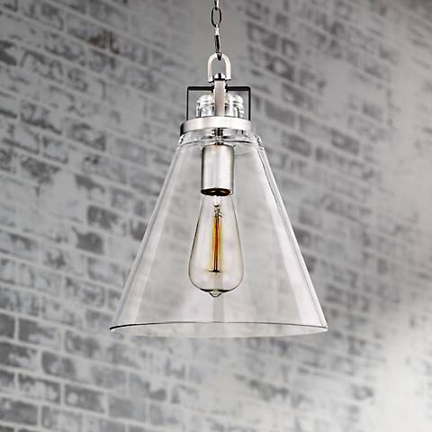 "Feiss Frontage 10""W Satin Nickel 1-Light Glass Mini Pendant"