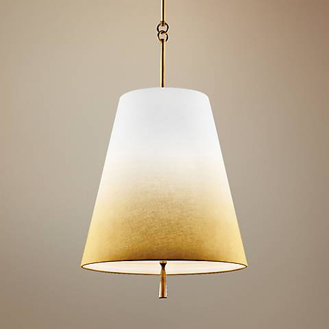 "Feiss Tori 18"" Wide Bali Brass 3-Light Linen Pendant"