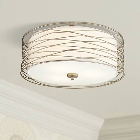 Possini Euro Rivulet 18 Quot W Spun Silver Metal Ceiling Light