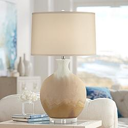 Marci Ivory Drip Round Ceramic Table Lamp
