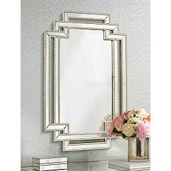 "Possini Euro Erte Silver 27"" x 39 1/2"" Beaded Wall Mirror"