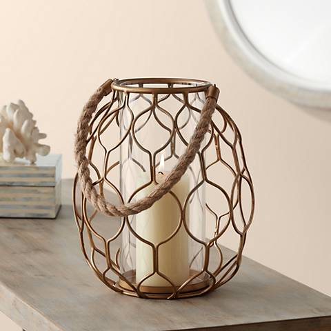 "Gold Net 20 1/4"" High Basket Pillar Candle Holder"