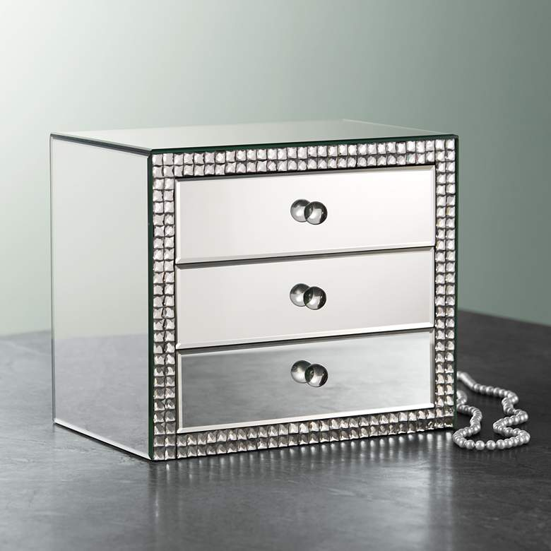 "Lorain 3-Drawer 12"" Wide Mirrored Jewelry Box"