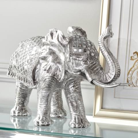Walking Elephant 12 3 4 Quot High Silver Statue 8j464