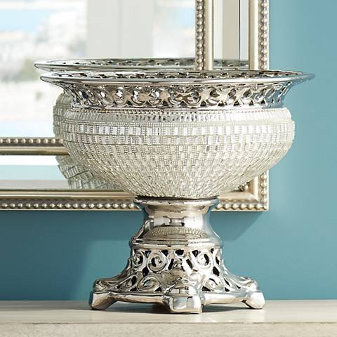 "Victoire Silver and Crystal 10 1/2""H Round Decorative Bowl"