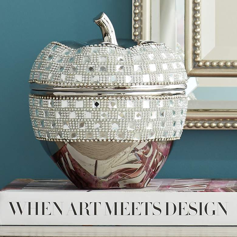 "Victoire Silver and Crystal 8 1/2"" High Ceramic Apple"