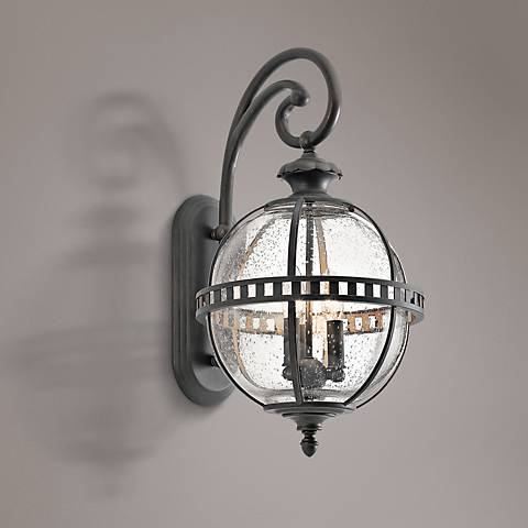 "Kichler Halleron 22 3/4""H Seedy Glass Outdoor Wall Light"