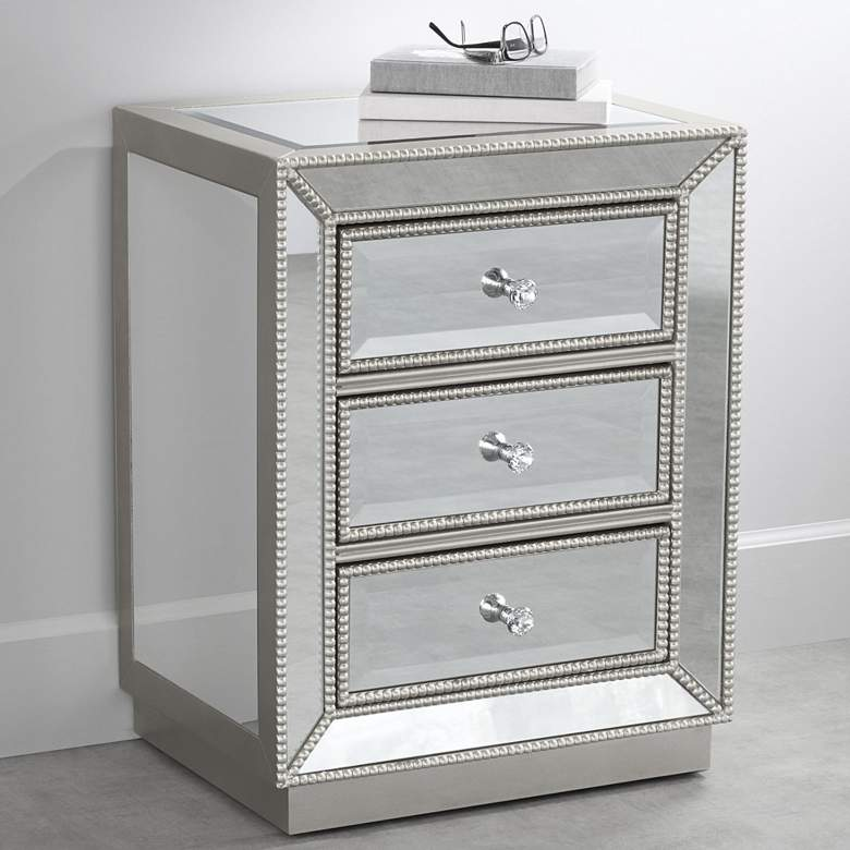 "Trevi 20"" Wide 3-Drawer Silver Mirrored Accent Table"