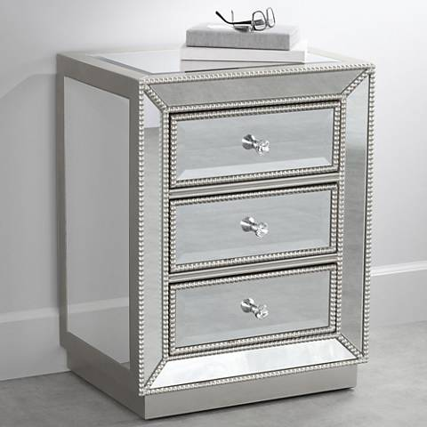 "Trevi Mirrored Silver 20"" Wide 3-Drawer Accent Table"