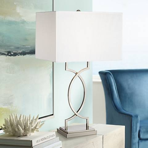 Modern Rome Brushed Nickel and Brushed Steel Table Lamp
