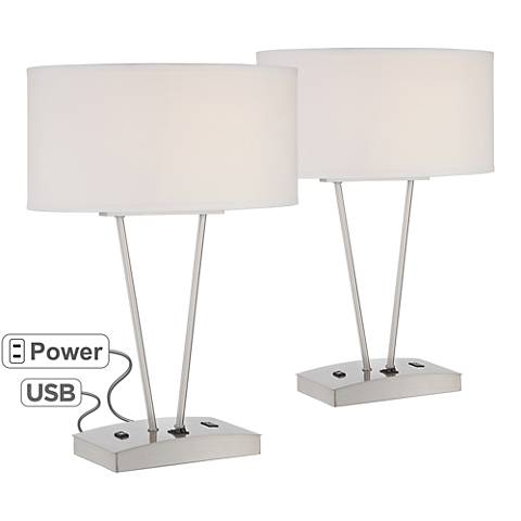 Leon Metal Table Lamp w/ USB Port and Utility Plug Set of 2