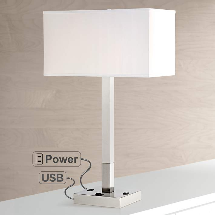 Bryce Metal Table Lamp With Usb Port And Utility Plug 8k531 Lamps Plus