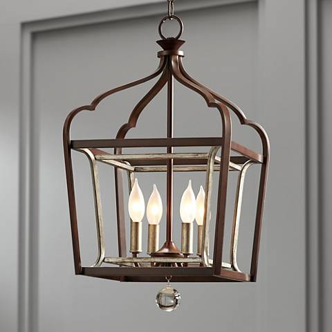 "Astrapia 13"" Wide Rubbed Sienna 4-Light Foyer Pendant"
