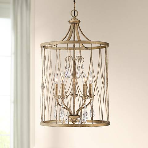 "West Liberty 18"" Wide Olympus Gold 5-Light Foyer Pendant"