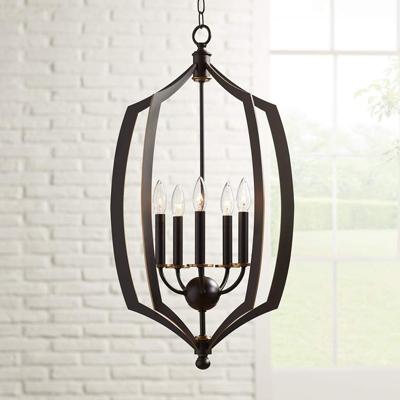 "Middletown 17"" Wide Downton Bronze 5-Light Foyer Pendant"