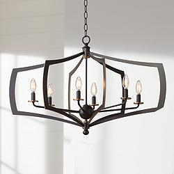 "Middletown 34"" Wide Downton Bronze 6-Light Oval Chandelier"
