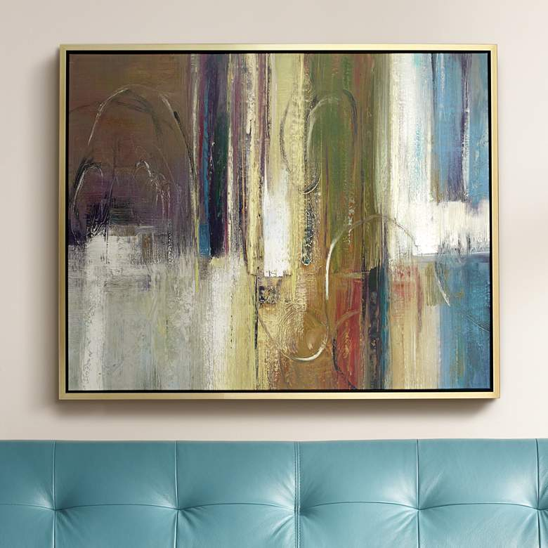 "Brown, Yellow and Blue Abstract 53"" High Framed"