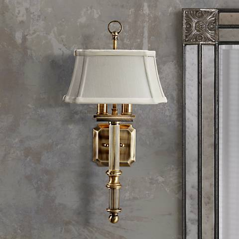 "House of Troy 2-Light 19"" High Antique Brass Wall Sconce"