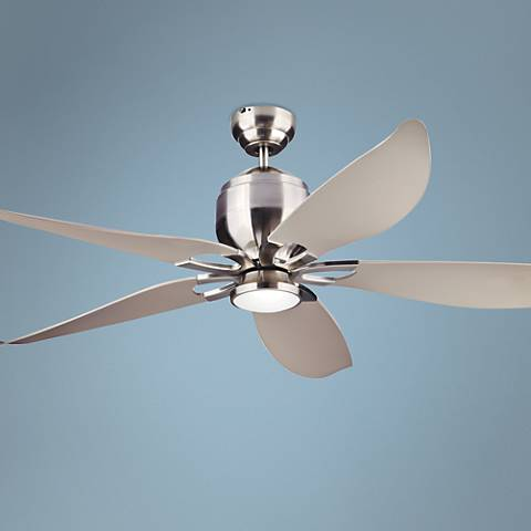 "56"" Lily Brushed Steel Damp-Rated LED DC Ceiling Fan"
