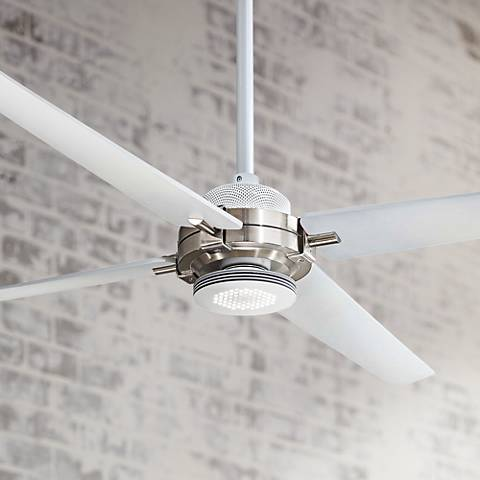 "60"" Minka Aire Spectre White - Nickel LED Ceiling Fan"