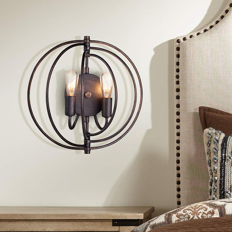 "Vienne 13"" High Dark Bronze Round 2-Light Wall Sconce"