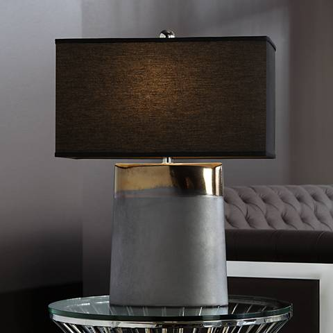 Moonrise Noir Bronze Table Lamp with Chocolate Shade