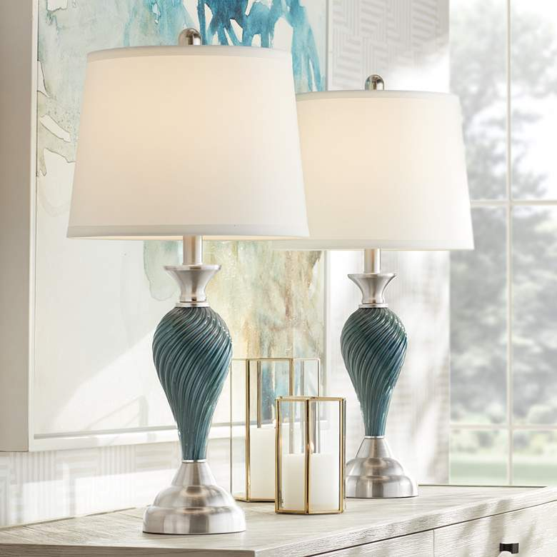 Arden Green-Blue Glass Twist Column Table Lamp Set