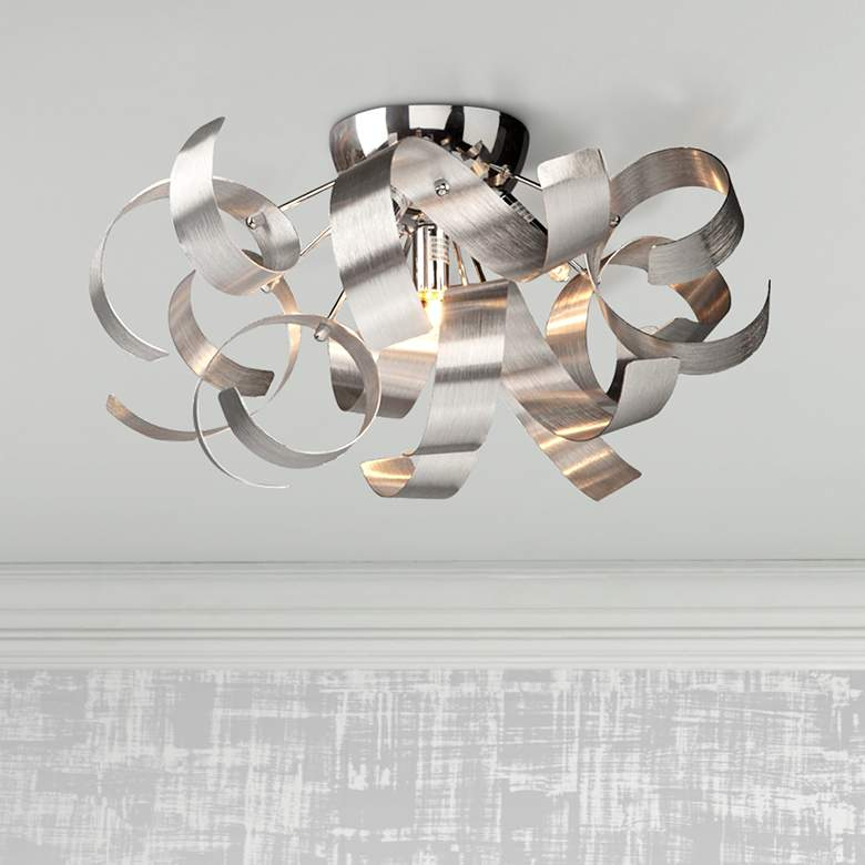 "Artcraft Bel Air 19"" Wide Chrome Ceiling Light"