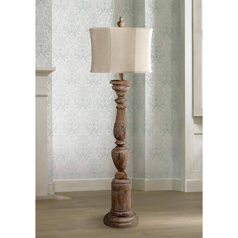 Windsor White Wash Candlestick Floor Lamp