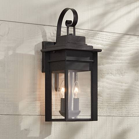 "Bransford 17"" High Black-Specked Gray Outdoor Wall Light"