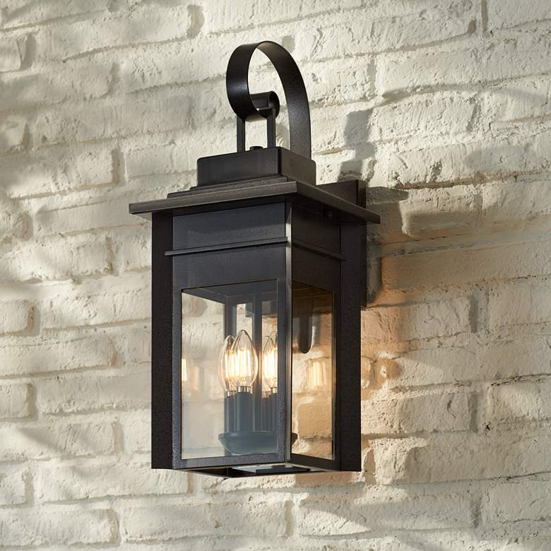 "Bransford 21"" High Black-Specked Gray Outdoor Wall Light"