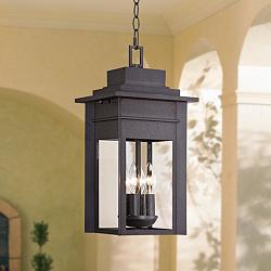 "Bransford 17 1/2""H Black-Speckled Gray Outdoor Hanging Light"
