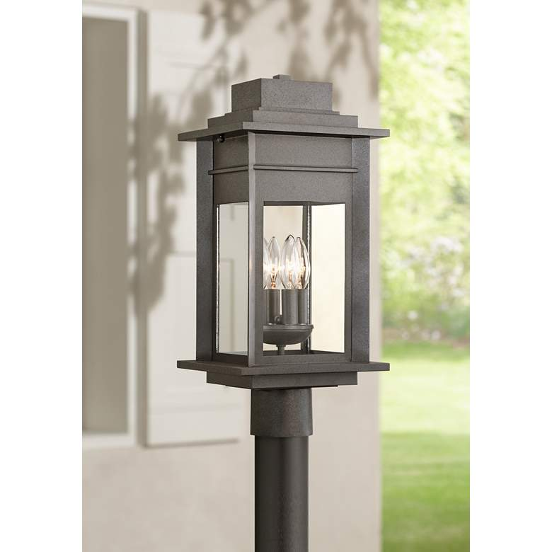 "Bransford 19 1/2""H Black-Specked Gray Outdoor Post Light"