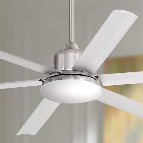 "60"" Casa Arcade™ Brushed Nickel Damp LED Ceiling Fan"