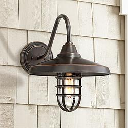 "Marlowe 16 3/4"" High Bronze Metal Outdoor Wall Light"
