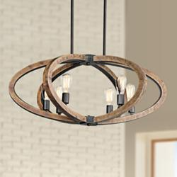 "Maxim Bodega Bay 36 1/2"" Wide 6-Light Anthracite Pendant"