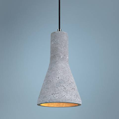 "Maxim Crete 7 1/4"" Wide Concrete Bell LED Mini Pendant"