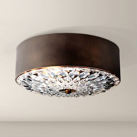 "Feiss Botanic 13 3/4"" Wide Dark Aged Brass Ceiling Light"