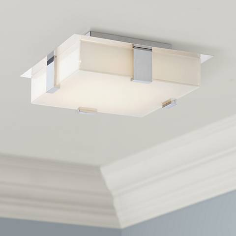 "Possini Euro Reda 12"" Square Chrome LED Ceiling Light"