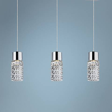 "ET2 Polka 21 1/2""W Clear Glass 3-Light LED Chrome Pendant"
