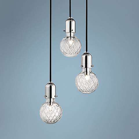 "Hudson Valley Marlow 10""W Nickel 3-Light Glass Pendant"