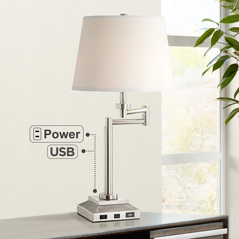 Camber Workstation Desk Lamp with Outlet and USB