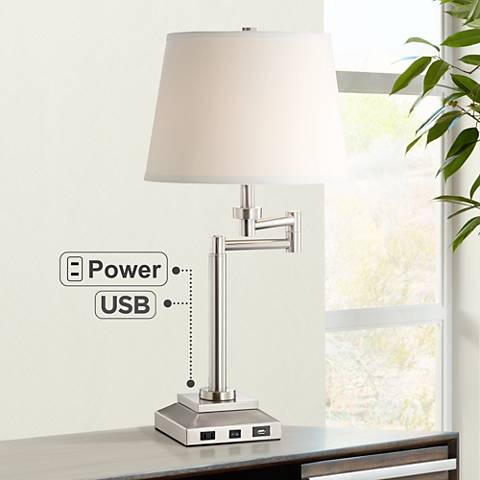 Camber Workstation Desk Lamp with Outlet and USB Port